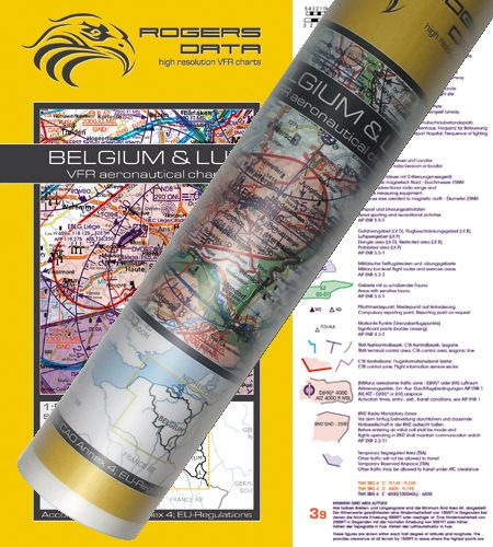 Belgien und Luxemburg VFR Luftfahrtkarte Wandkarte 500k 2020