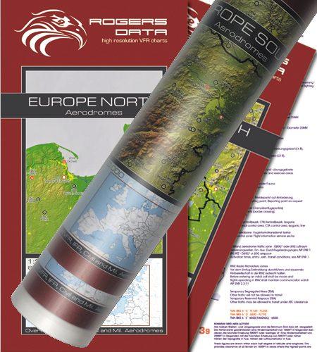 Flugplätze Europas 2er Set VFR Luftfahrtkarte Wandkarte 2.500k 2020
