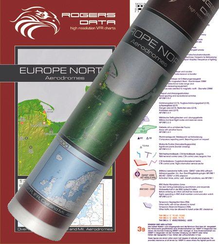 Flugplätze Europas Nord VFR Luftfahrtkarte Wandkarte 2.500k 2020