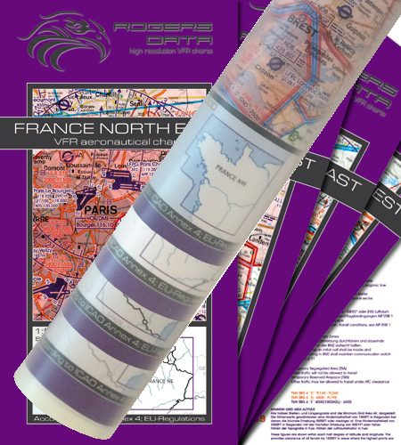 Frankreich 4er Set VFR Luftfahrtkarte Wandkarte 500k 2020