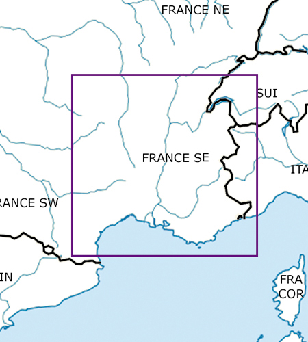 Frankreich-Süd-Ost-VFR-Luftfahrtkarte-ICAO-Karte-500k