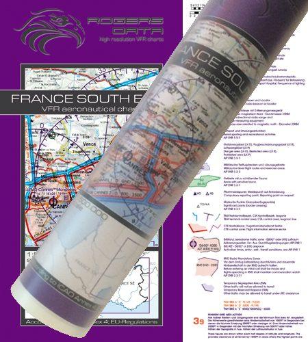 Frankreich Süd Ost VFR Luftfahrtkarte Wandkarte 500k 2020
