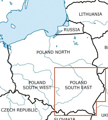 Polen-Süd-Ost-VFR-Luftfahrtkarte-ICAO-Karte-500k