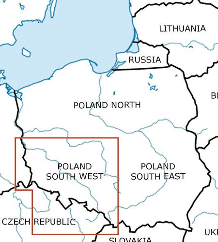 Polen-Süd-West-VFR-Luftfahrtkarte-ICAO-Karte-500k