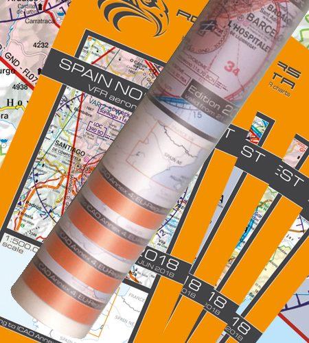Spanien 4er Set VFR Luftfahrtkarte Wandkarte 500k 2020
