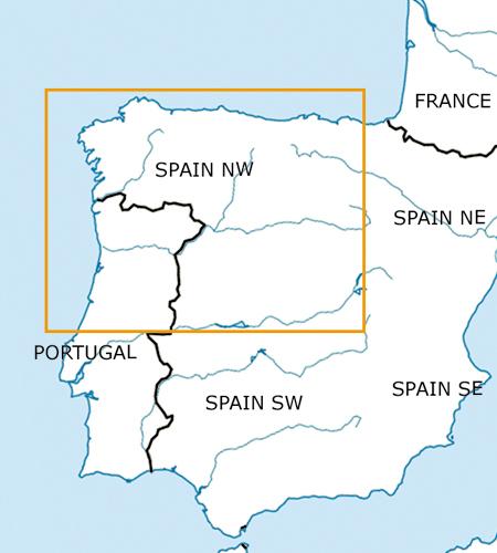 Spanien-Nord-West-VFR-Luftfahrtkarte-ICAO-Karte-500k