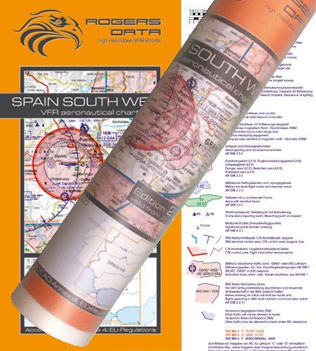 Spanien Süd West VFR Luftfahrtkarte Wandkarte 500k 2020