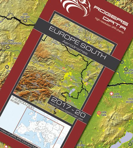 Flugplätze Europas Süd Rogers Data Faltkarte 2.500k 2017-2020