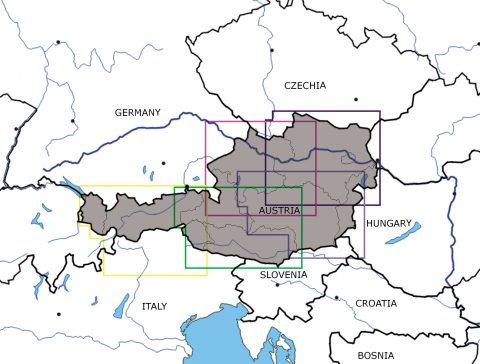 Österreich-5er-Set-VFR-Luftfahrtkarten-ICAO-Karten-200k