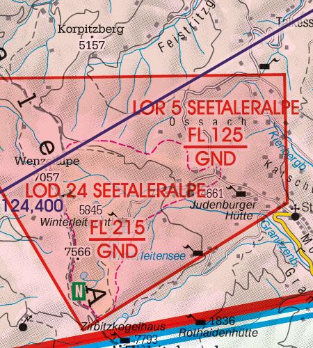 Österreich Sichtflugkarte Gefahrengebiet Luftsperrgebiet