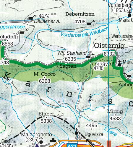 Österreich Sichtflugkarte Grenzüberflugspunkte