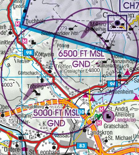 Österreich Sichtflugkarte Luftsportgebiet Erholungsaktivität