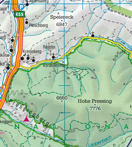 Österreich Sichtflugkarte Naturschutzgebiete Fauna