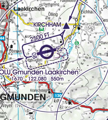 Österreich Sichtflugkarte Platzrunde Anflugverfahren
