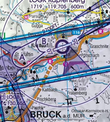 Österreich Sichtflugkarte 500k Sichtflugsektor VFR Sektor