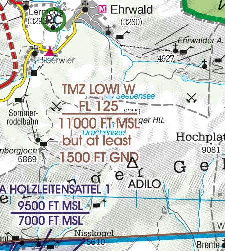 Österreich Sichtflugkarte 500k TMZ Zone
