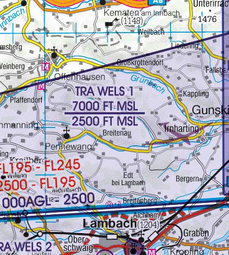 Österreich Sichtflugkarte ICAO Karte 500k TRA