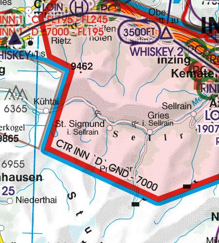 Österreich Sichtflugkarte 500k CTR Kontrollzone