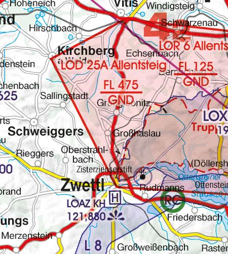Österreich Sichtflugkarte 500k Gefahrengebiet Luftsperrgebiet