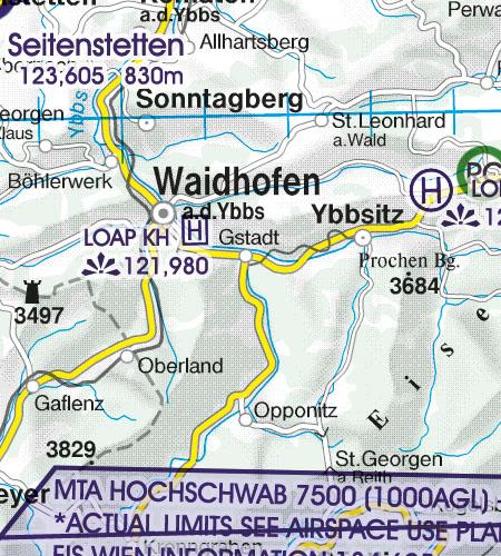 Österreich Sichtflugkarte 500k Hubschrauberlandeplatz Krankenhaus