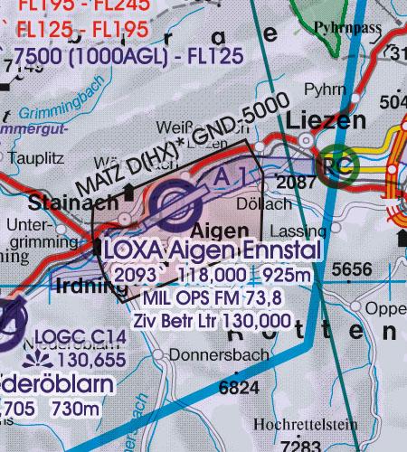 Österreich Sichtflugkarte 500k MATZ Flugplatzverkehrszonen