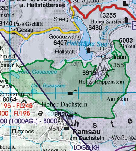 Österreich Sichtflugkarte 500k Naturschutzgebiet Nationalparks