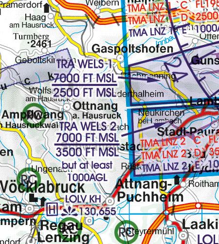 Österreich VFR Luftfahrtkarte TRA