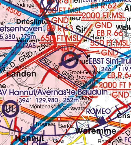 Belgien Luxemburg VFR Luftfahrtkarte ATZ Flugplatzverkehrszonen