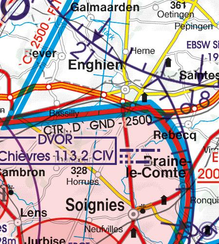 Belgien Luxemburg VFR Luftfahrtkarte CTR Kontrollzone