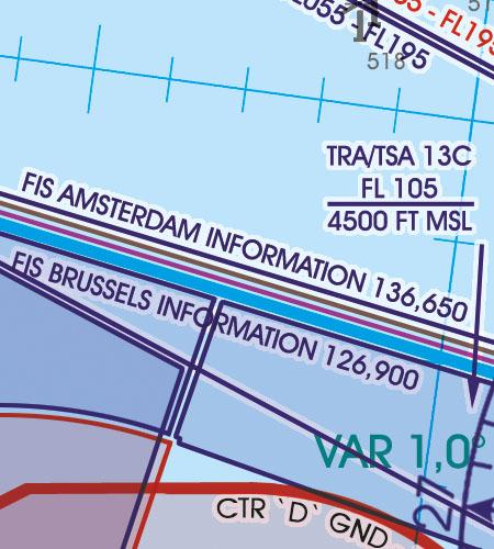 Belgien Luxemburg VFR Luftfahrtkarte FIS Flight Information Service