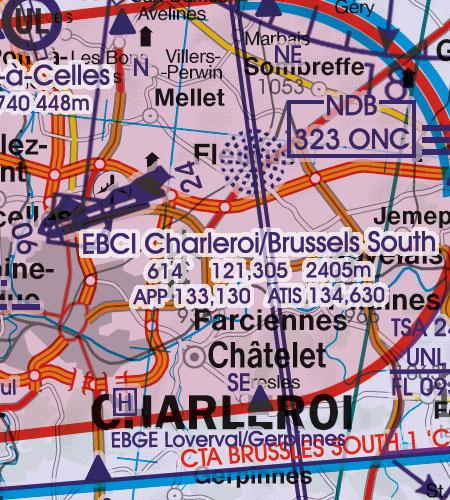 Belgien Luxemburg VFR Luftfahrtkarte Flughafen Charleroi