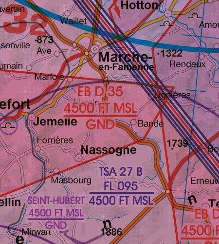Belgien Luxemburg VFR Luftfahrtkarte Gefahrengebiet