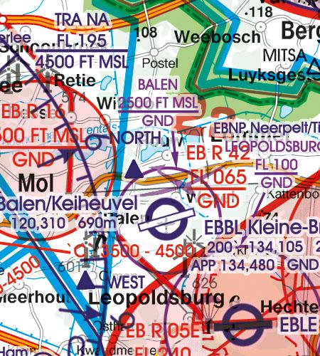 Belgien Luxemburg VFR Luftfahrtkarte Luftsportgebiet Erholungsaktivitäten