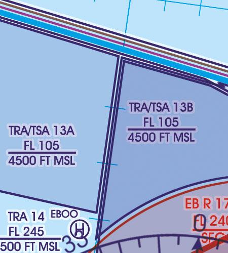 Belgien Luxemburg VFR Luftfahrtkarte TRA Luftraumreservierung