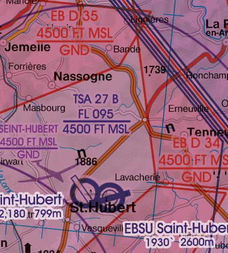 Belgien Luxemburg VFR Luftfahrtkarte TSA Temporaer Abgetretener Luftraum