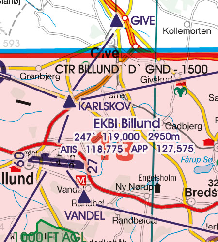 Dänemark VFR Luftfahrtkarte Anflugverfahren