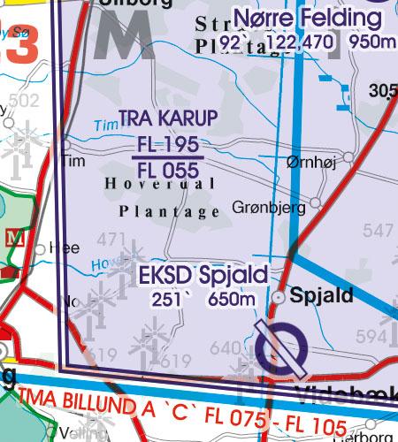 Dänemark VFR Luftfahrtkarte TRA Luftraumreservierung