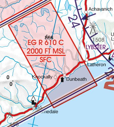 England VFR Luftfahrtkarte EG-R-Flugbeschränkungsgebiet