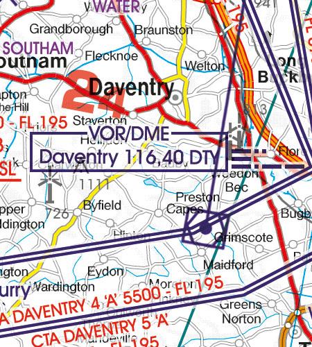 England VFR Luftfahrtkarte Funknavigationsanlage