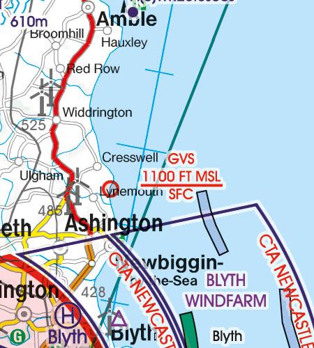England VFR Luftfahrtkarte GVS Gas Venting Site
