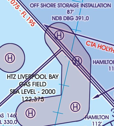 England VFR Luftfahrtkarte HTZ Heliports