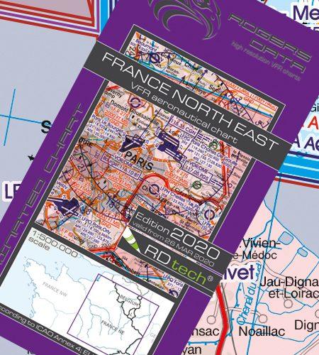 Frankreich Nord Ost VFR Luftfahrtkarte - ICAO Karte 500k 2020