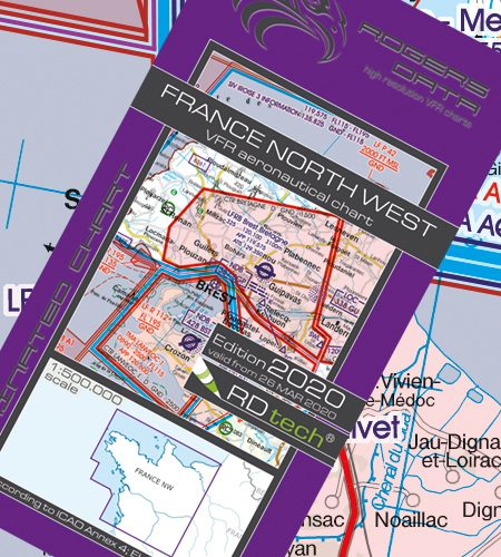 Frankreich Nord West VFR Luftfahrtkarte - ICAO Karte 500k 2020