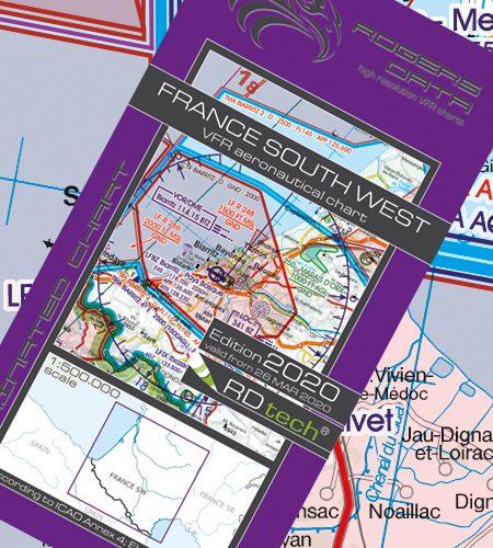 Frankreich Süd West VFR Luftfahrtkarte - ICAO Karte 500k 2020
