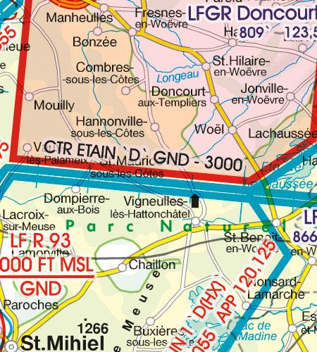 Frankreich VFR Luftfahrtkarte CTR Kontrollzone