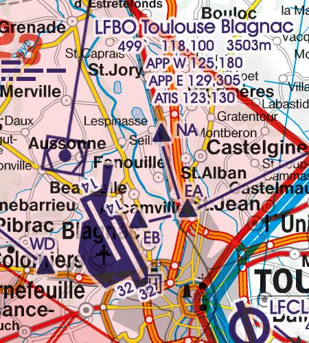 Frankreich VFR Luftfahrtkarte Flughafen Toulouse