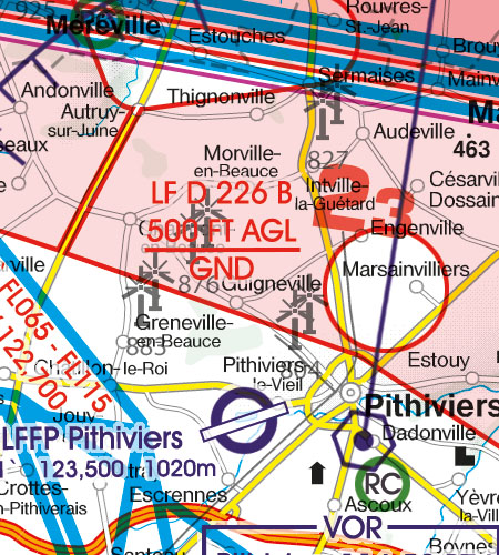 Frankreich VFR Luftfahrtkarte Gefahrengebiet Danger Area