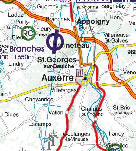 Frankreich VFR Luftfahrtkarte Hubschrauberlandeplatz Krankenhaus