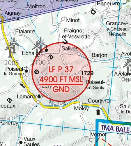 Frankreich VFR Luftfahrtkarte Luftsperrgebiet Prohibited Area