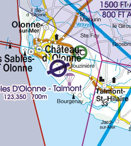 Frankreich VFR Luftfahrtkarte Luftsportgebiet Erholungsaktivität